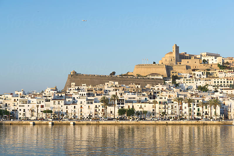 View of beautiful houses of Ibiza in the Mediterranean Sea by ACALU Studio for Stocksy United