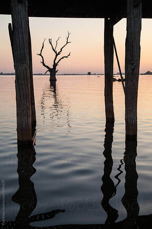 U Bein Bridge Reflections by Paul Ratje for Stocksy United