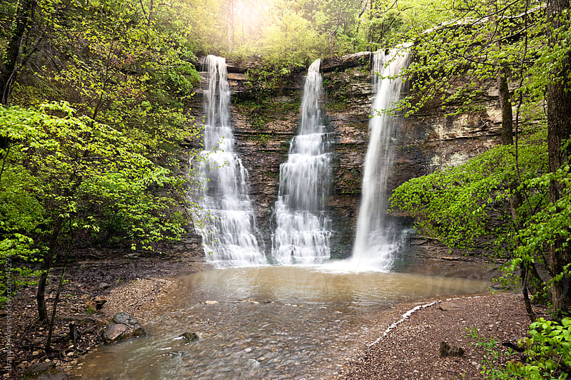 Triple Falls Waterfalls in the Arkansas Ozark Mountains by Brandon Alms for Stocksy United