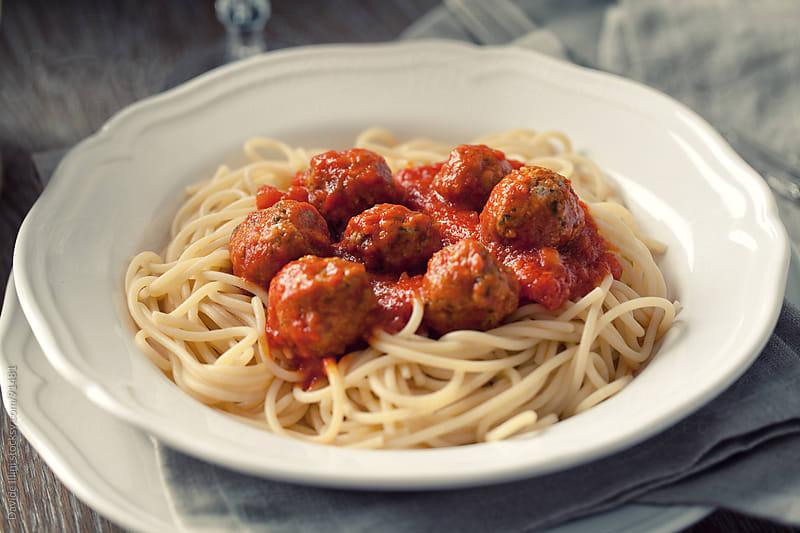 Spaghetti and meatballs by Davide Illini for Stocksy United