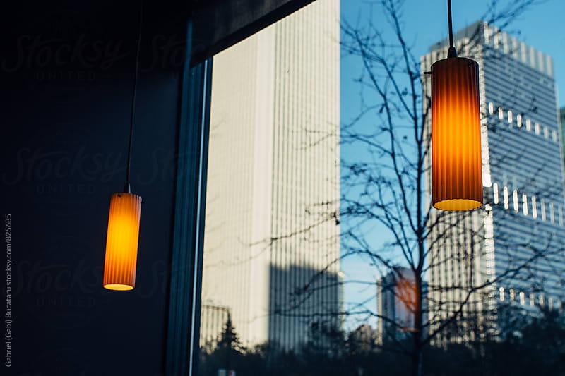 Skyscrapers seen from a cafe window by Gabriel (Gabi) Bucataru for Stocksy United