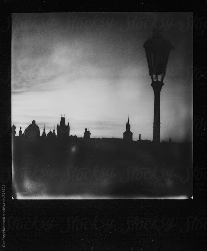 Polaroid of Prague Charles Bridge in Silhouette by Geoffrey Hammond for Stocksy United