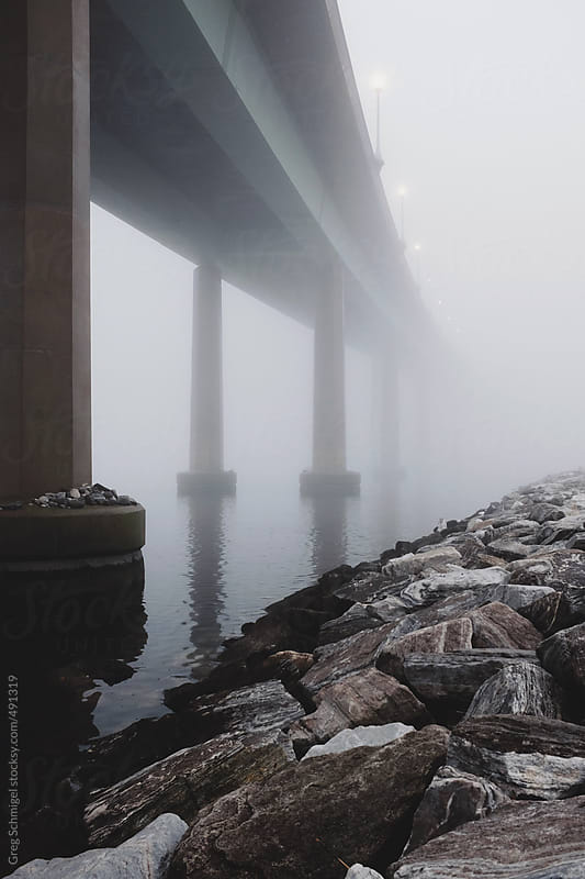 Landscape and nature views of heavy fog under a bridge in Maryland in December by Greg Schmigel for Stocksy United