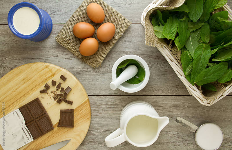 Mint chocolate ice cream ingredients overhead by Kirsty Begg for Stocksy United
