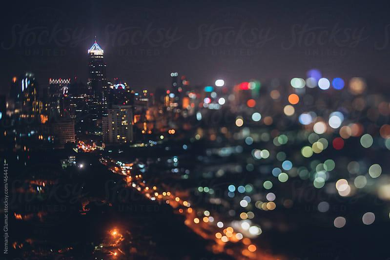 Night Bangkok Skyline Made With Tilt-Shift Lens by Nemanja Glumac for Stocksy United