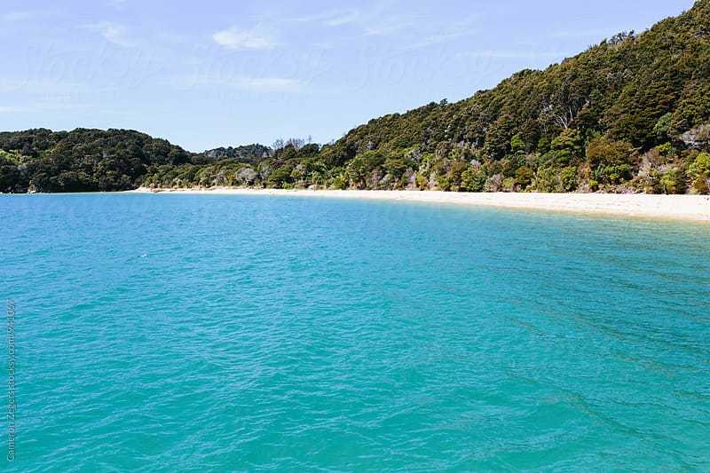 clear blue water and beach at Abel Tasman National Park, New Zealand by Cameron Zegers for Stocksy United