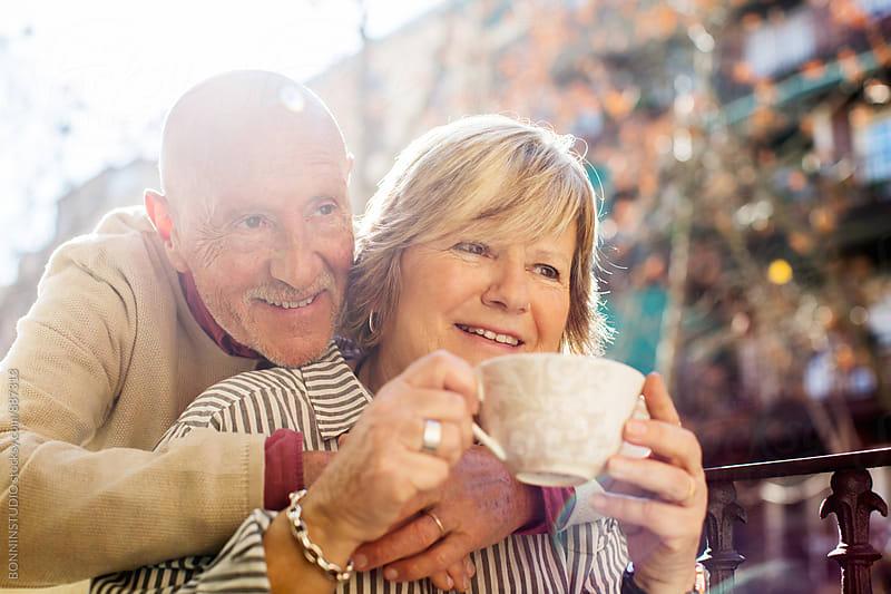 Portrait of an elderly couple enjoying the morning.  by BONNINSTUDIO for Stocksy United