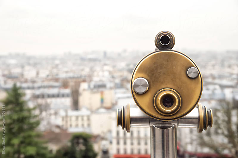 Telescope on top of Paris by Bisual Studio for Stocksy United