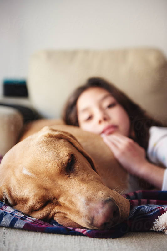 Little girl with her labrador lying on sofa. Focus on dog by Guille Faingold for Stocksy United