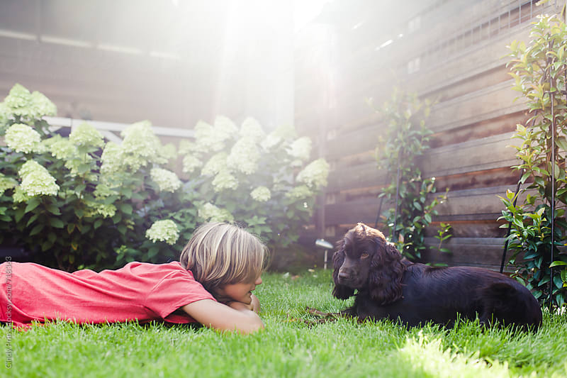 Boy lying in the grass in the garden with his dog by Cindy Prins for Stocksy United