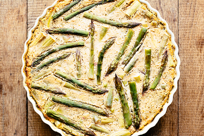 Spring Frittata with Peas, Asparagus and Herbs (vegan) by Harald Walker for Stocksy United
