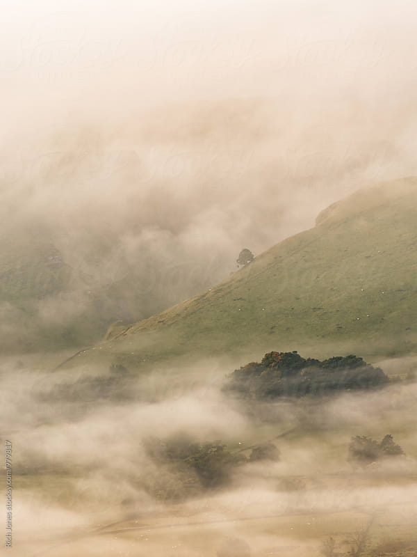 Hope Valley in the mist, Peak District by Richard Jones for Stocksy United