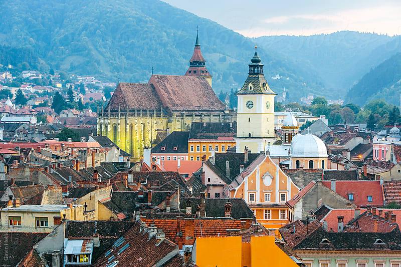 Romania, Transylvania, Brasov, elevated view over the centre of medieval Brasov by Gavin Hellier for Stocksy United