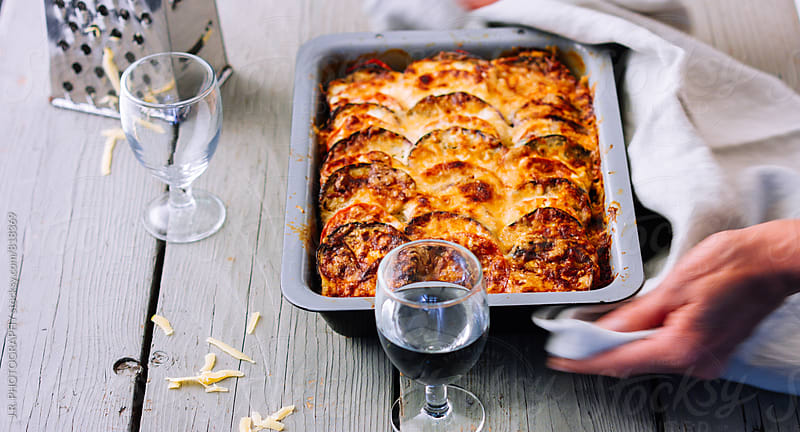 Vegetarian moussaka with aubergines by J.R. PHOTOGRAPHY for Stocksy United