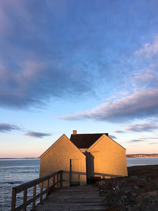 Old Fishing Shacks at Sunset by Cara Slifka for Stocksy United