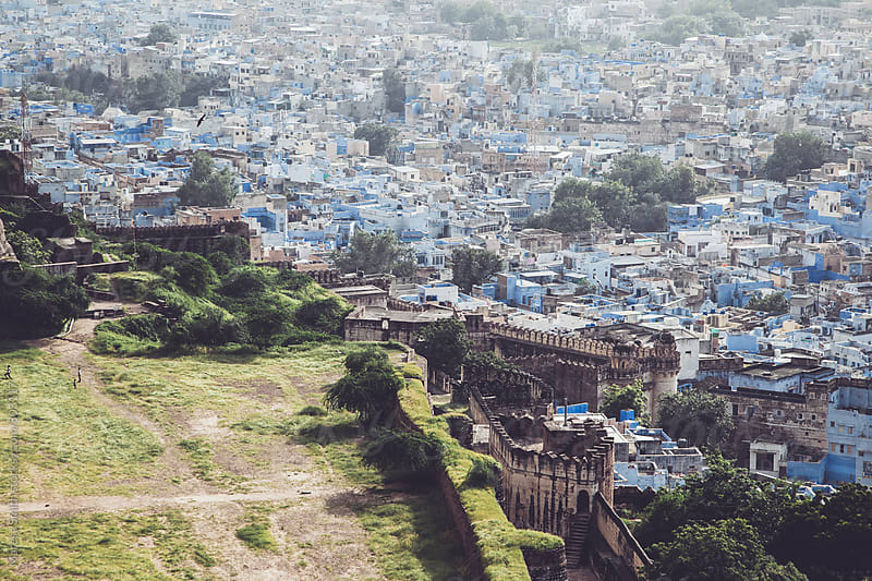 Blue city vista - the view from The Mehrangarh Fort, Jodhpur, India by Maresa Smith for Stocksy United