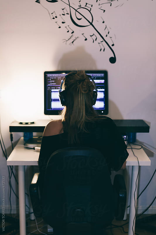Woman Producing Music in Her Home Sound Studio by VICTOR TORRES for Stocksy United