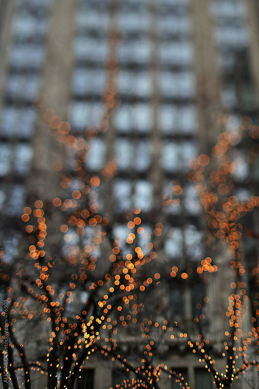 Downtown In A City Decorated With Holiday Lights by ALICIA BOCK for Stocksy United