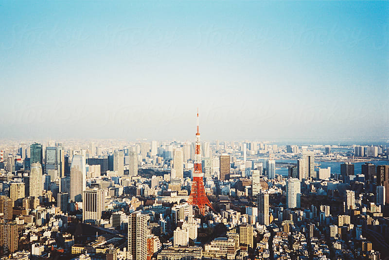 Tokyo Cityscape With Tokyo Tower on Sunny Day Shot on Film (Porta 400) by Julien L. Balmer for Stocksy United