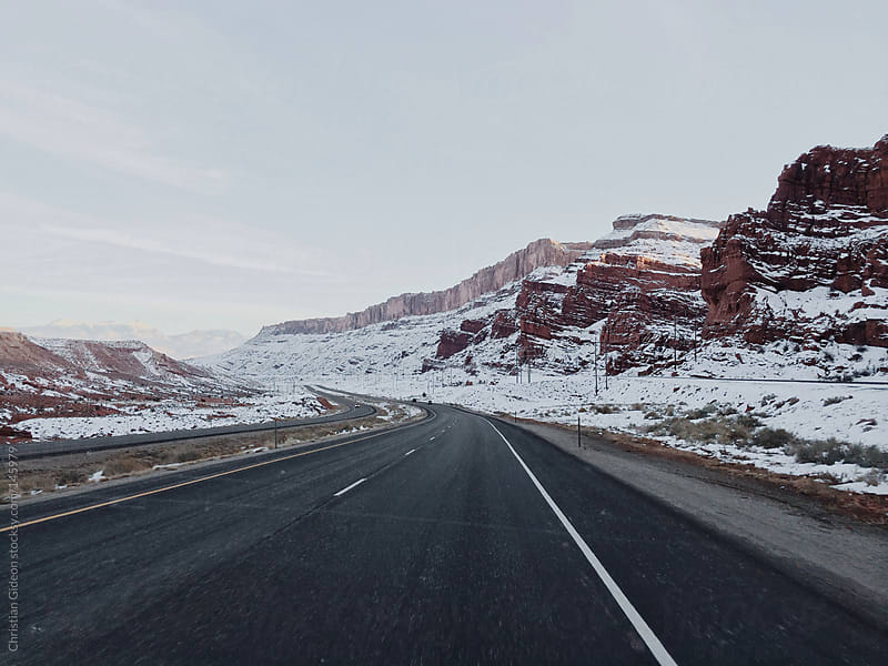 Snow Mountain Pass Roads by Christian Gideon for Stocksy United