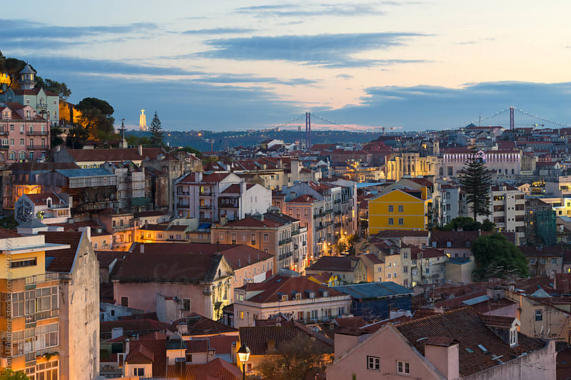 Lisbon, Portugal - Evening Panorama of the City by Tom Uhlenberg for Stocksy United
