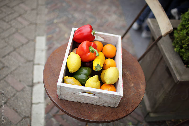 Wooden crate with fruit & veg by Marcel for Stocksy United