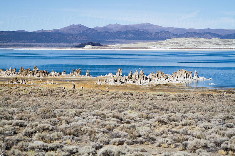 Tufa Formations with Blue Sky and Reflecting Lake by MEGHAN PINSONNEAULT for Stocksy United