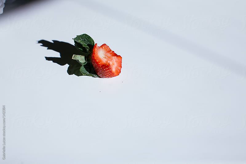 Strawberry on a Table in the Sun by Gabrielle Lutze for Stocksy United