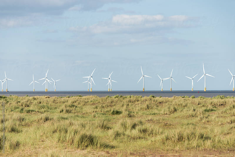 Wind turbines at sea with grassland in the foreground by Mike Marlowe for Stocksy United
