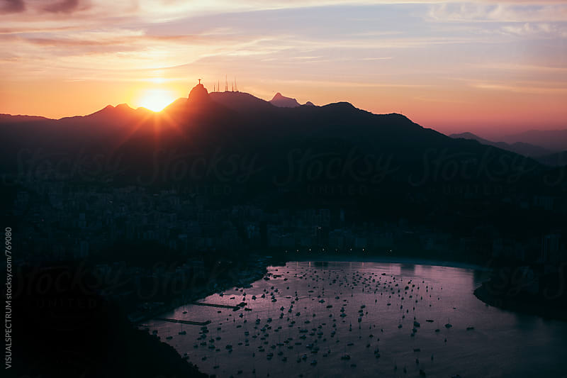 Rio de Janeiro Skyline With Christ the Redeemer at Sunset by VISUALSPECTRUM for Stocksy United