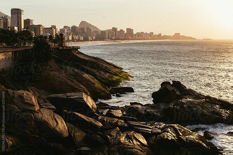 Rio de Janeiro - Ipanema Beach With Sugarloaf in Golden Yellow Morning Light by Julien L. Balmer for Stocksy United