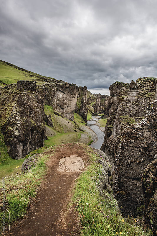 icelandic canyon by Andreas Gradin for Stocksy United