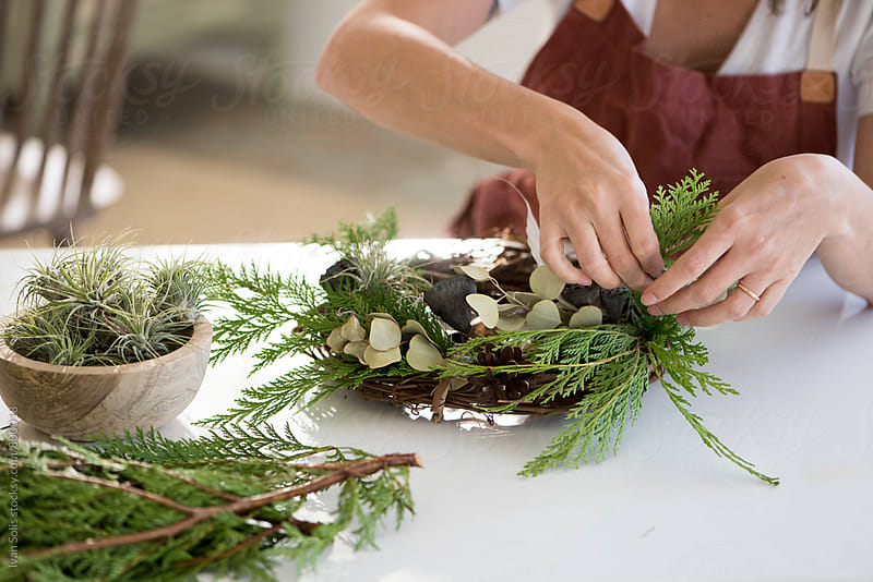 Homemade wreath making by Ivan Solis for Stocksy United
