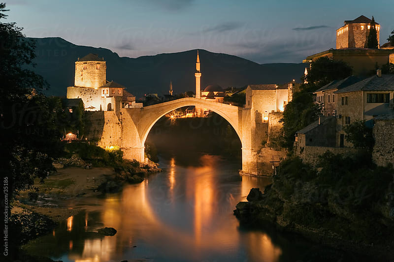 The famous Old Bridge of Mostar built in 1566, destroyed in 1993, rebuilt in 2004 as the New Old Bridge, Mostar, Herzegovina, Bosnia and Herzegovina, Balkans, Europe by Gavin Hellier for Stocksy United