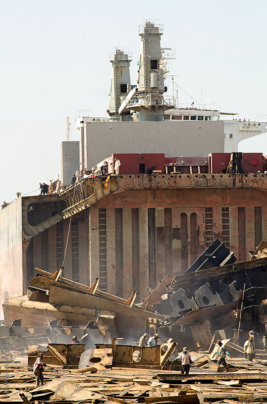 Gadani ship-breaking yard is the world's third largest ship breaking yard.  by Agha Waseem Ahmed for Stocksy United