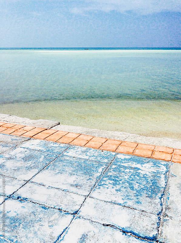 Colorful Sidewalk Near Tropical Ocean by VISUALSPECTRUM for Stocksy United