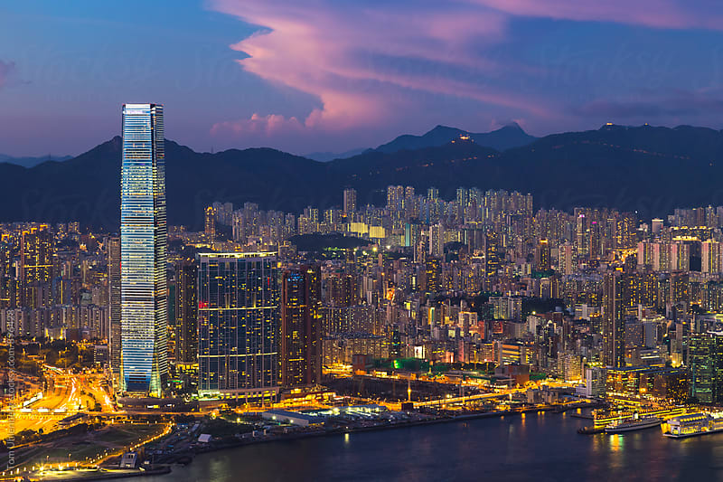 Hong Kong, SAR China - View from Victoria Peak towards Kowloon at Twilight by Tom Uhlenberg for Stocksy United