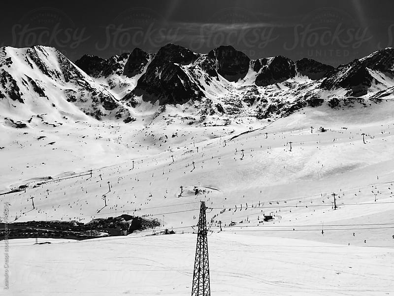 Landscape of snowy mountains in Andorra by Leandro Crespi for Stocksy United