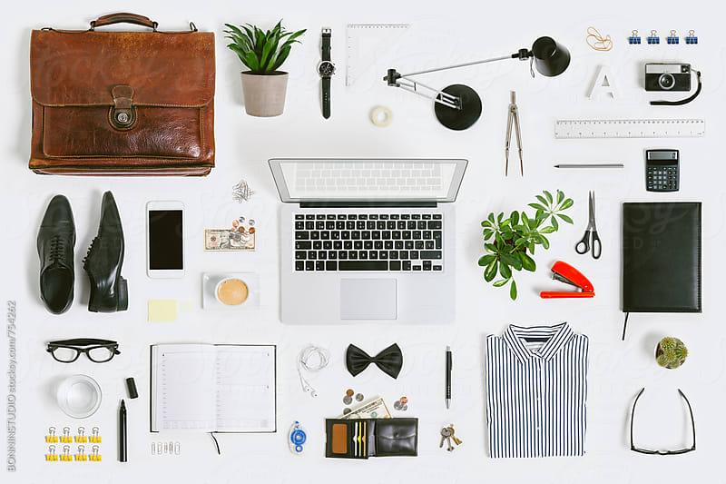Business mock up on white desk. by BONNINSTUDIO for Stocksy United