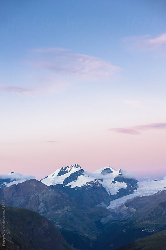 Panorama with Rimpfischorn and Strahlhorn after sunset by Peter Wey for Stocksy United