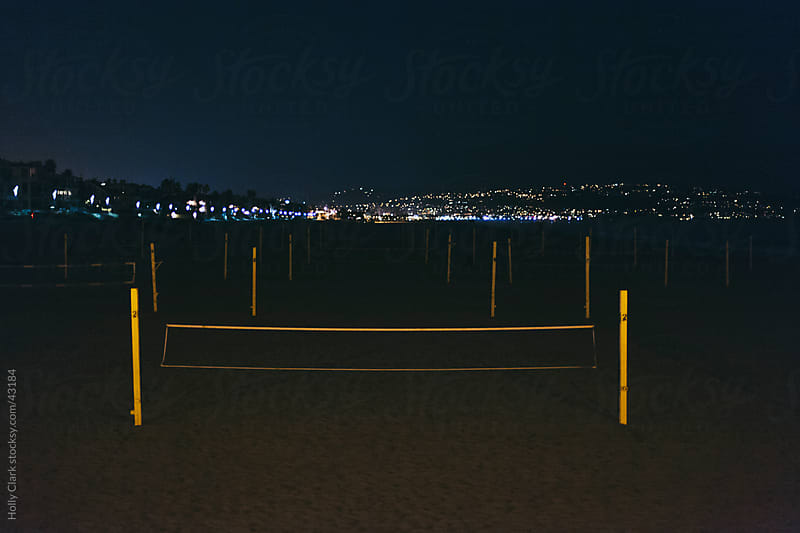 Deserted Volley Ball Nets at Night in Los Angeles by Holly Clark for Stocksy United