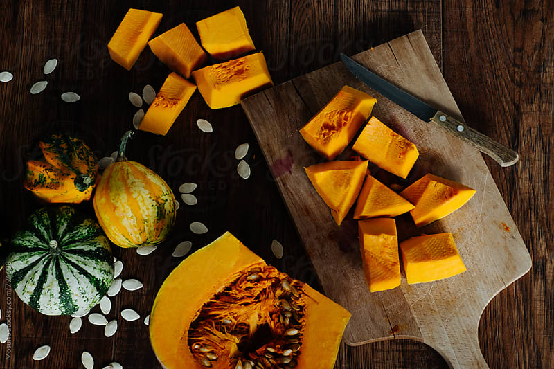 Overhead View of Pumpkin on a Cutting Board by Mosuno for Stocksy United