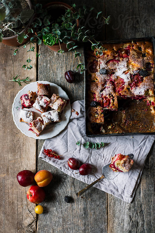 Various summer fruit cake baked by Natasa Kukic for Stocksy United