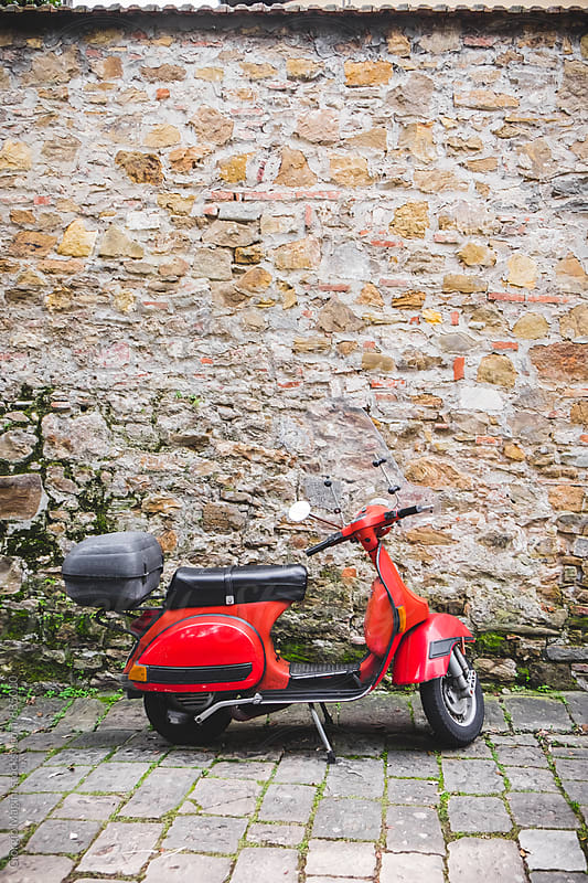 Red Retro Scooter Parked in an Old Tuscan Alley by Giorgio Magini for Stocksy United