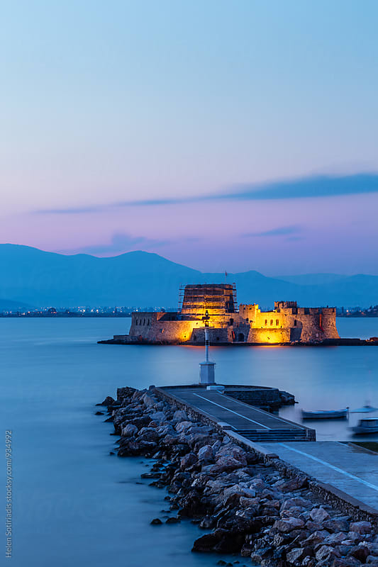 Blue Hour with Bourtzi Castle by Helen Sotiriadis for Stocksy United