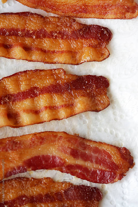 Bacon On A Paper Towel Ready For Breakfast by ALICIA BOCK for Stocksy United