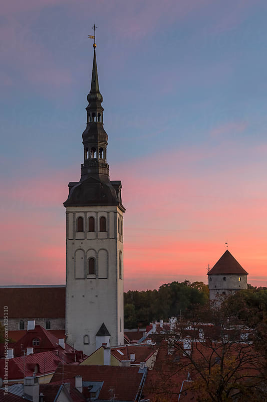 Tallinn, Estonia - The Tower of St. Nicholas' Church (Niguliste kirik) at Sunset by Tom Uhlenberg for Stocksy United