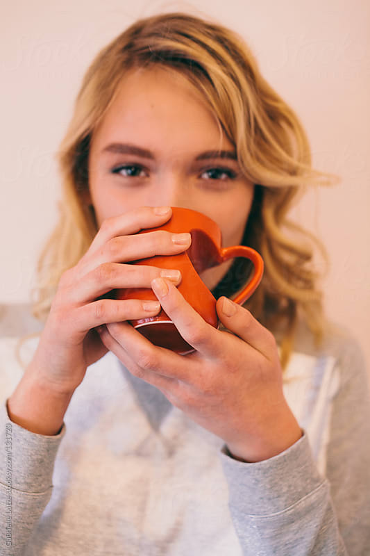 Beautiful Girl with Heart Mug by Gabrielle Lutze for Stocksy United