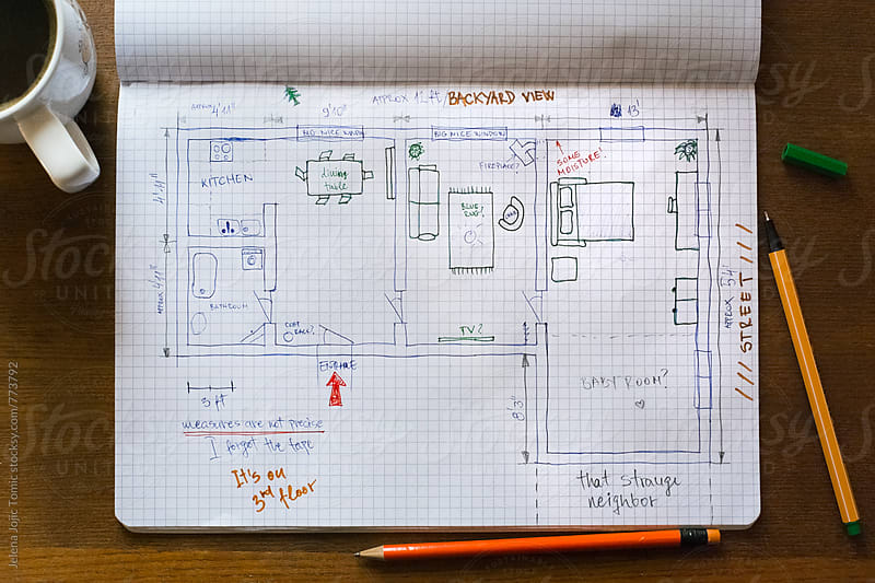 Floor plan sketch of our dream house by Jelena Jojic Tomic for Stocksy United