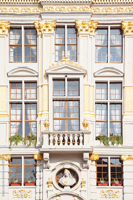 white stylish building with golden ornaments by Sonja Lekovic for Stocksy United